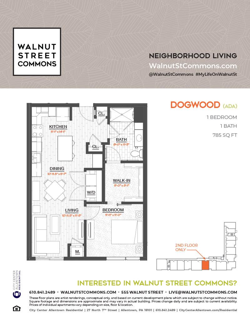 Allentown Apartment Floor Plans Walnut Street Commons